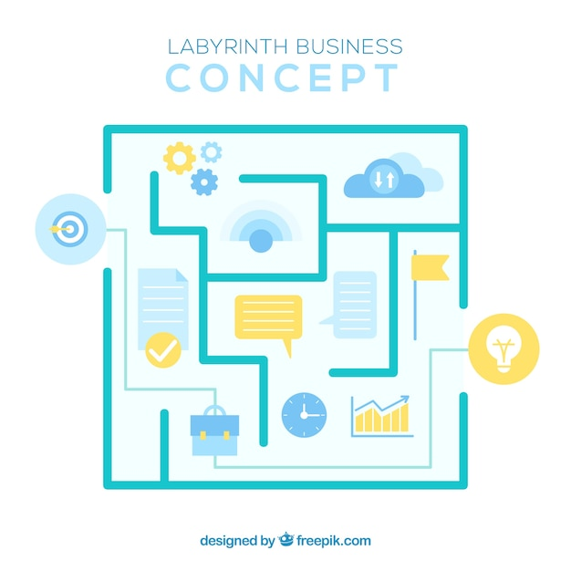 Modern business concept with labyrinth Free Vector