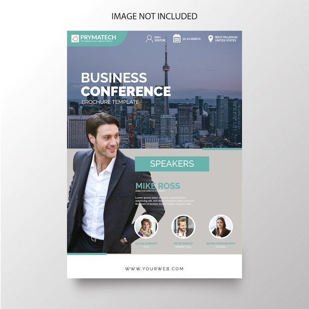 Modern business conference brochure template Free Vector