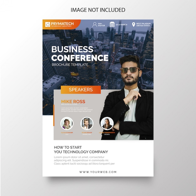 Modern business conference flyer Free Vector