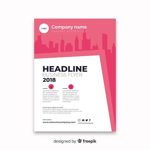 Modern Business Flyer Template With Abstract Design Vector Free