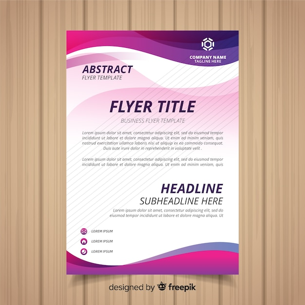 Modern business flyer template with abstract shapes Free Vector
