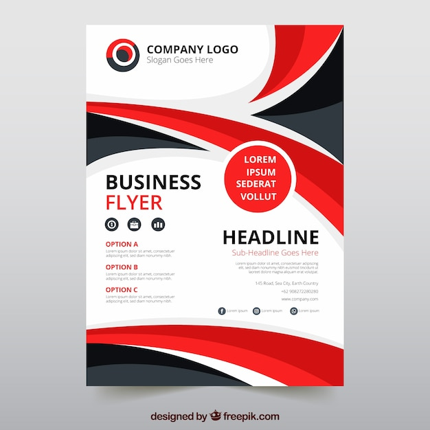 Modern business flyer template with abstract style Free Vector