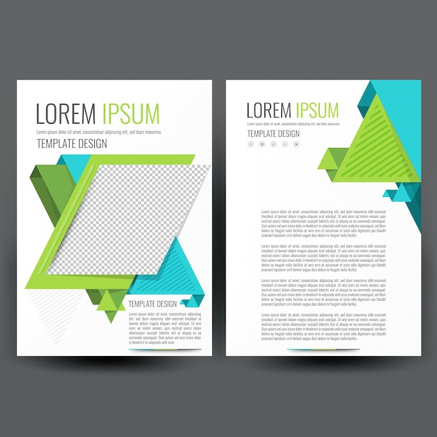 Modern Business Flyer Template With Blue And Green Geometric