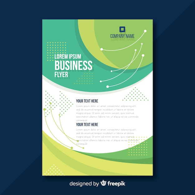Modern business flyer template with flat design Free Vector
