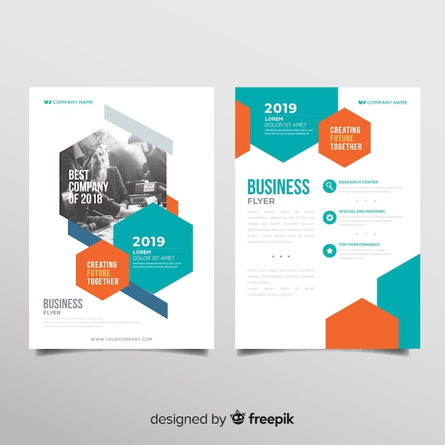 Modern business flyer template with geometric design Free Vector