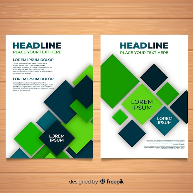 Modern business flyer with abstract shapes Free Vector