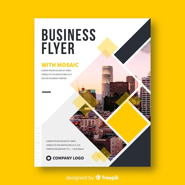 Modern business flyer with photo mosaic Free Vector