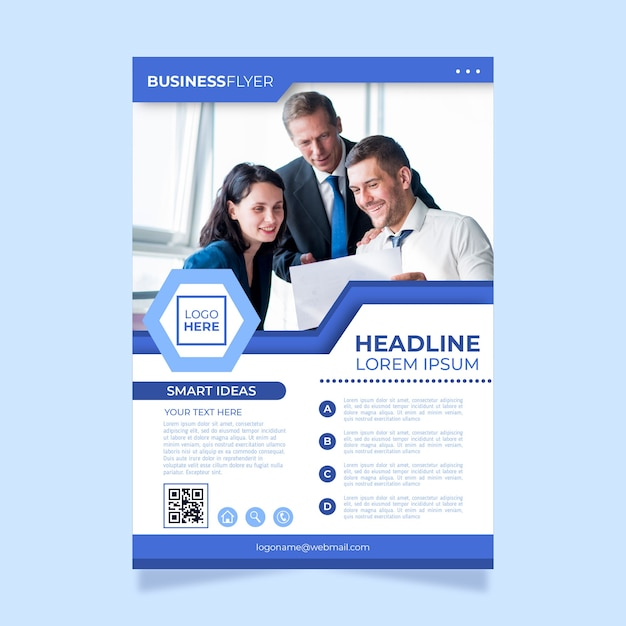 Modern business flyer with photo Free Vector