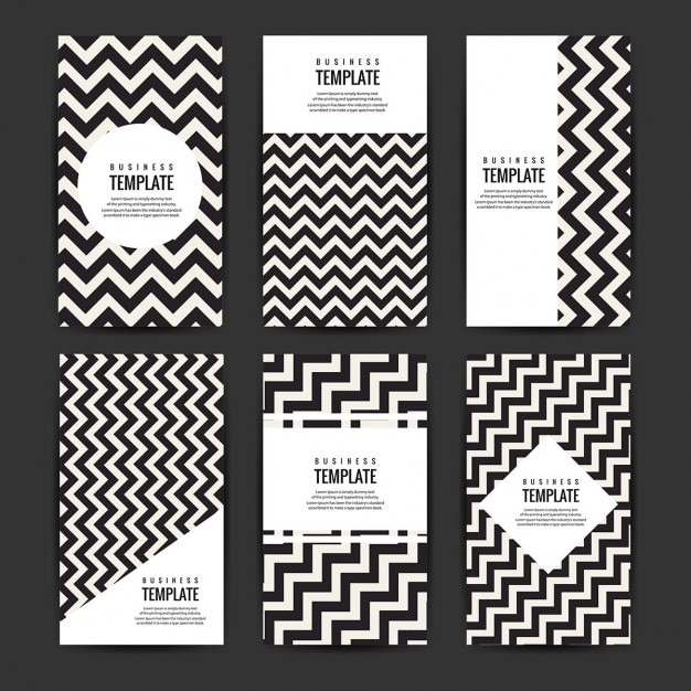 Modern Business Flyers Template Set With Zig Zag Lines Vector Free
