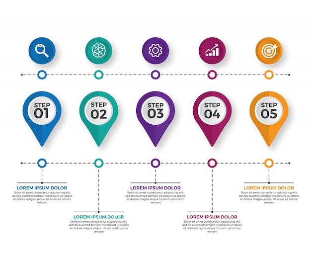 Modern business horizontal timeline Premium Vector