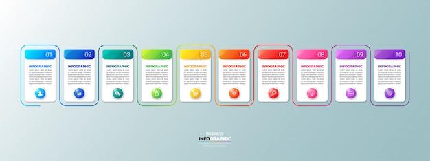 Modern business infographic 10 steps Premium Vector