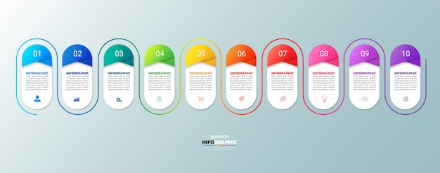 Modern business infographic 10 steps Premium Vector