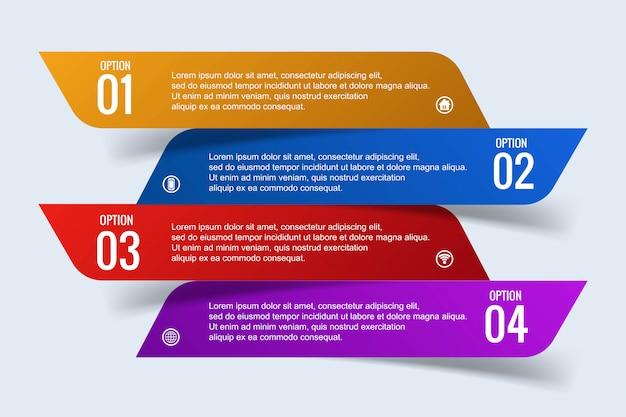 4 단계 배너 디자인으로 현대 비즈니스 infographic 개념 무료 벡터