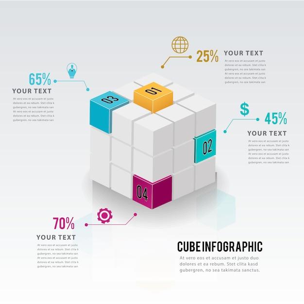 Modern business infographic options template design. Premium Vector