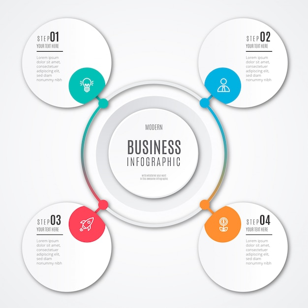 Modern business infographic template Free Vector