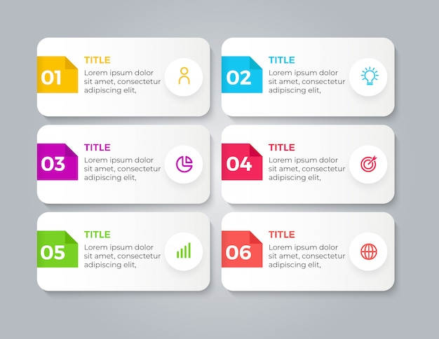 Modern business infographic with 6 steps Premium Vector
