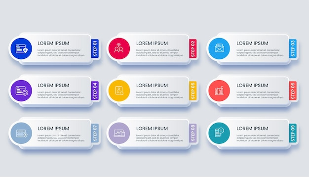 Modern business infographic with 9 options illustration Premium Vector