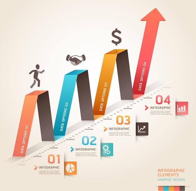 Modern business infographics origami arrow template.c Premium Vector