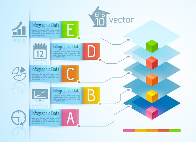 Modern business infographics with colorful 3d squares five ribbon text banners icons on light illustration Free Vector
