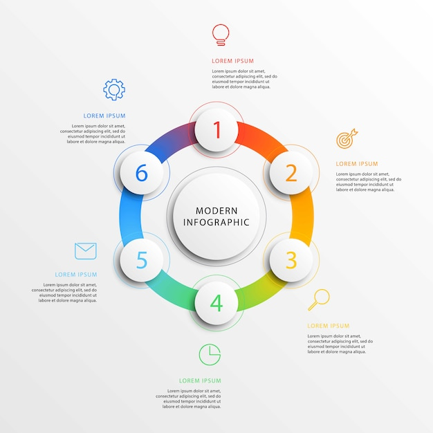 Modern business infographics with realistic 3d round elements. Premium Vector