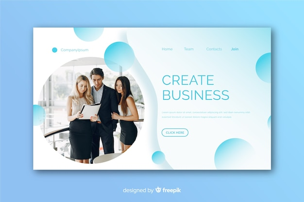 Modern business landing page with photo Free Vector