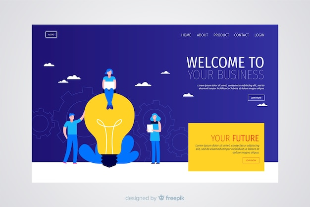 Modern business landing page Free Vector