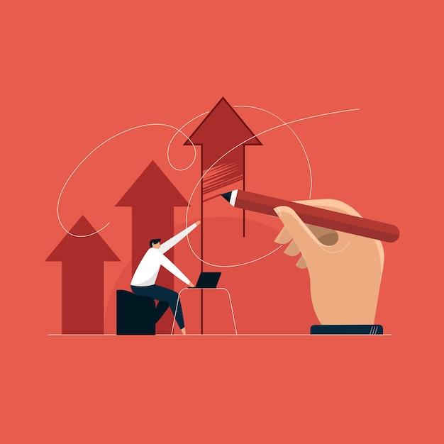 現代のビジネスリーダーシップの概念、ビジネスの成長の矢印 Premiumベクター