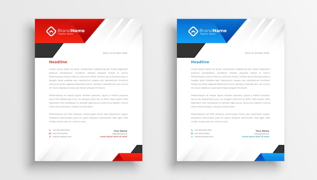 Modern business letterhead pack template set of two Free Vector