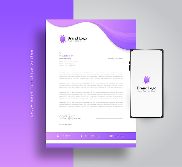 Modern business letterhead template design with futuristic concept in purple gradient and smartphon