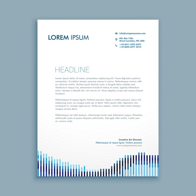 Modern business letterhead with lines