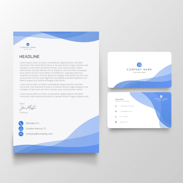 Modern business letterhead with visiting card pack Free Vector