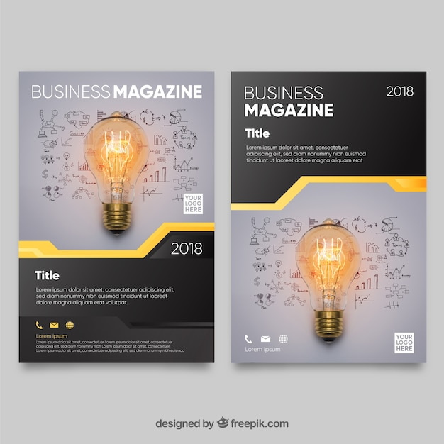 Modern business magazine cover template with photo Free Vector
