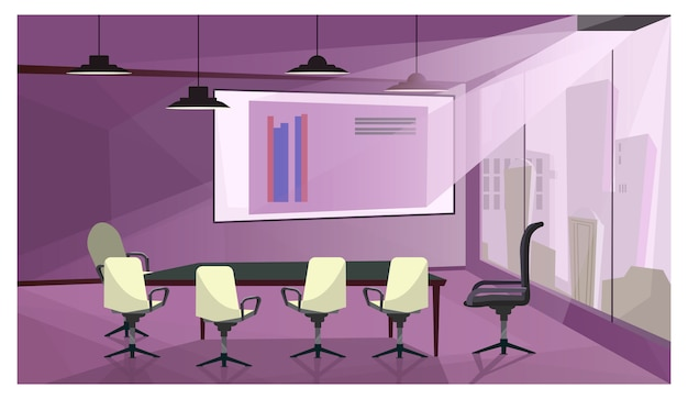 Modern business meeting room illustration Free Vector