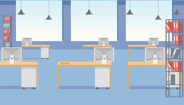 Modern business office space flat vector interior Premium Vector