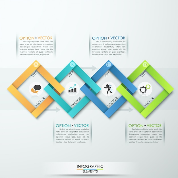 Modern business paper infographics options banner Premium Vector