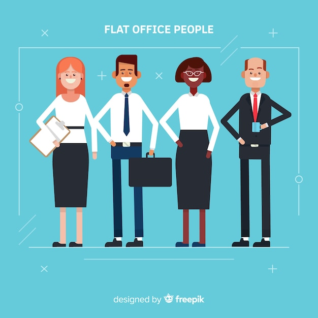 Modern business people with flat design Free Vector