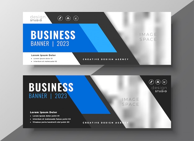 Modern business presentation banner in blue geometric style Free Vector