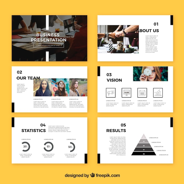Modern business presentation template Free Vector