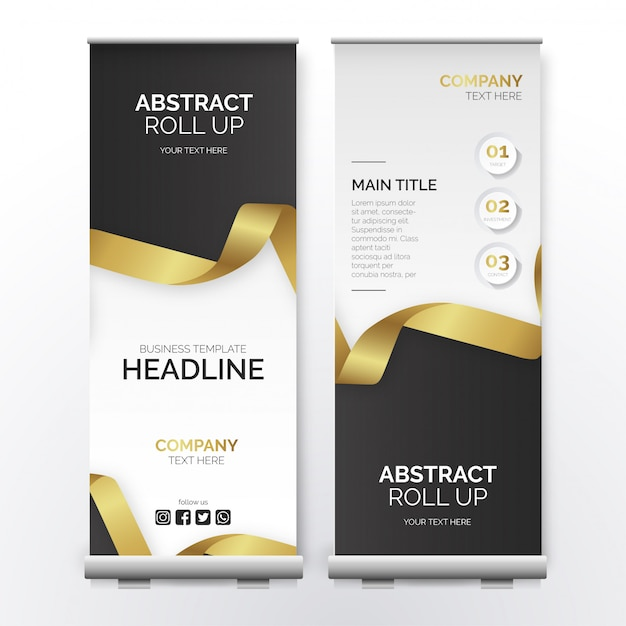 Modern business roll up with golden ribbon Free Vector