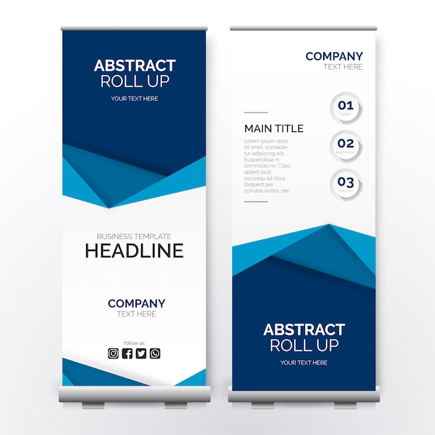 Modern business roll up with papercut shapes Free Vector