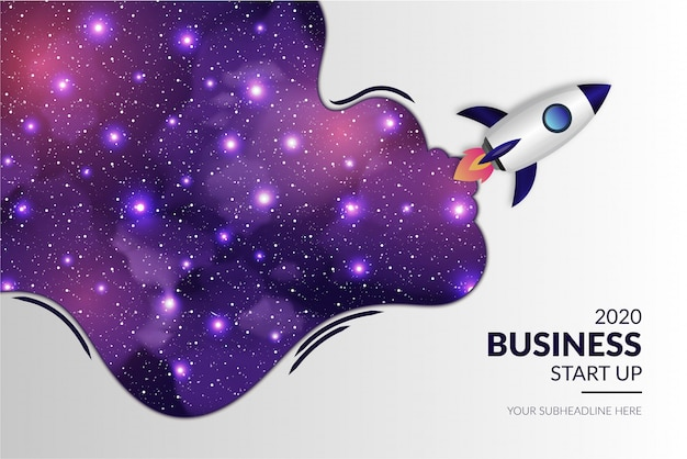 Modern business start up with realistic rocket and galaxy background Free Vector