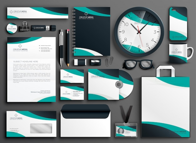 Modern business stationery collateral set Free Vector