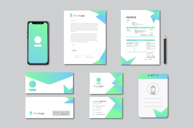 Modern business stationery collection Free Vector