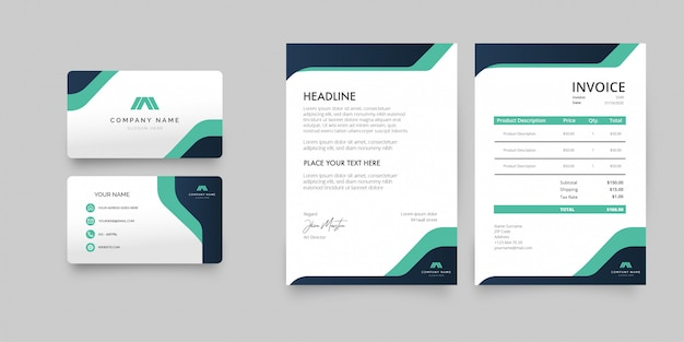 Modern business stationery pack with abstract shapes Free Vector