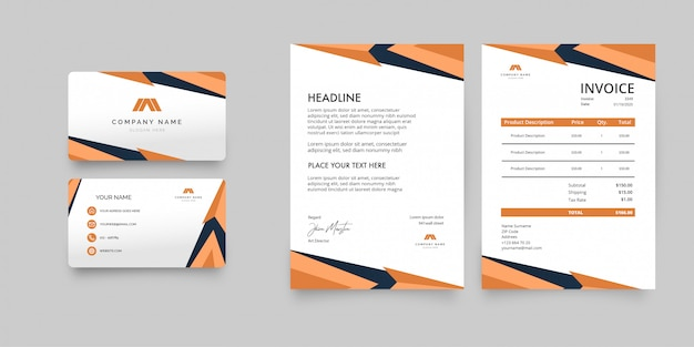 Modern business stationery pack with orange shapes Free Vector