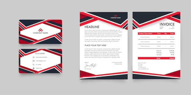 Modern business stationery pack with visit card, invoice and letterhead corporative Free Vector