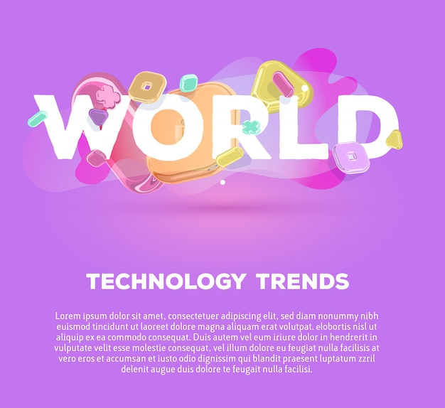 Modern business template with bright crystal  elements and word world on purple background with shadow, title and text. Premium Vector