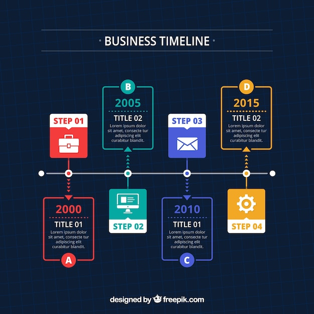 Modern business timeline concept Free Vector