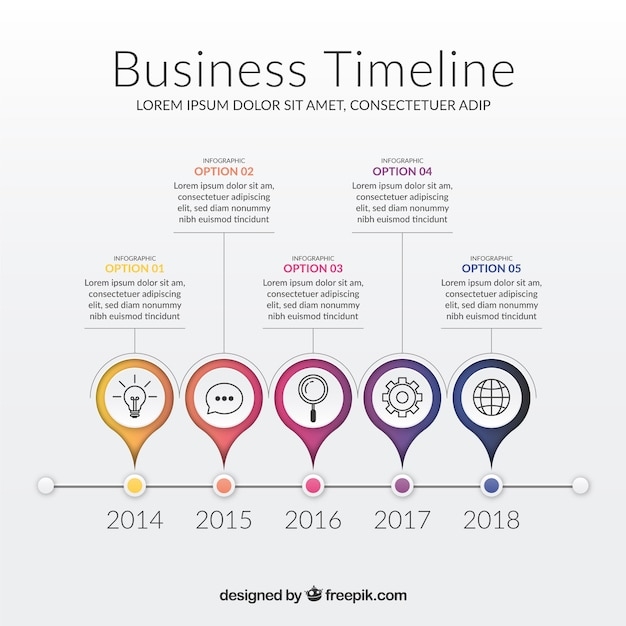 Modern business timeline template Free Vector