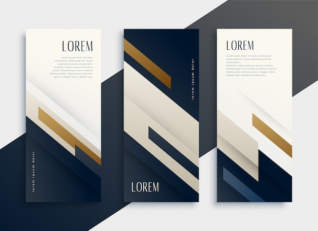 Modern business vertical banner cards set Free Vector